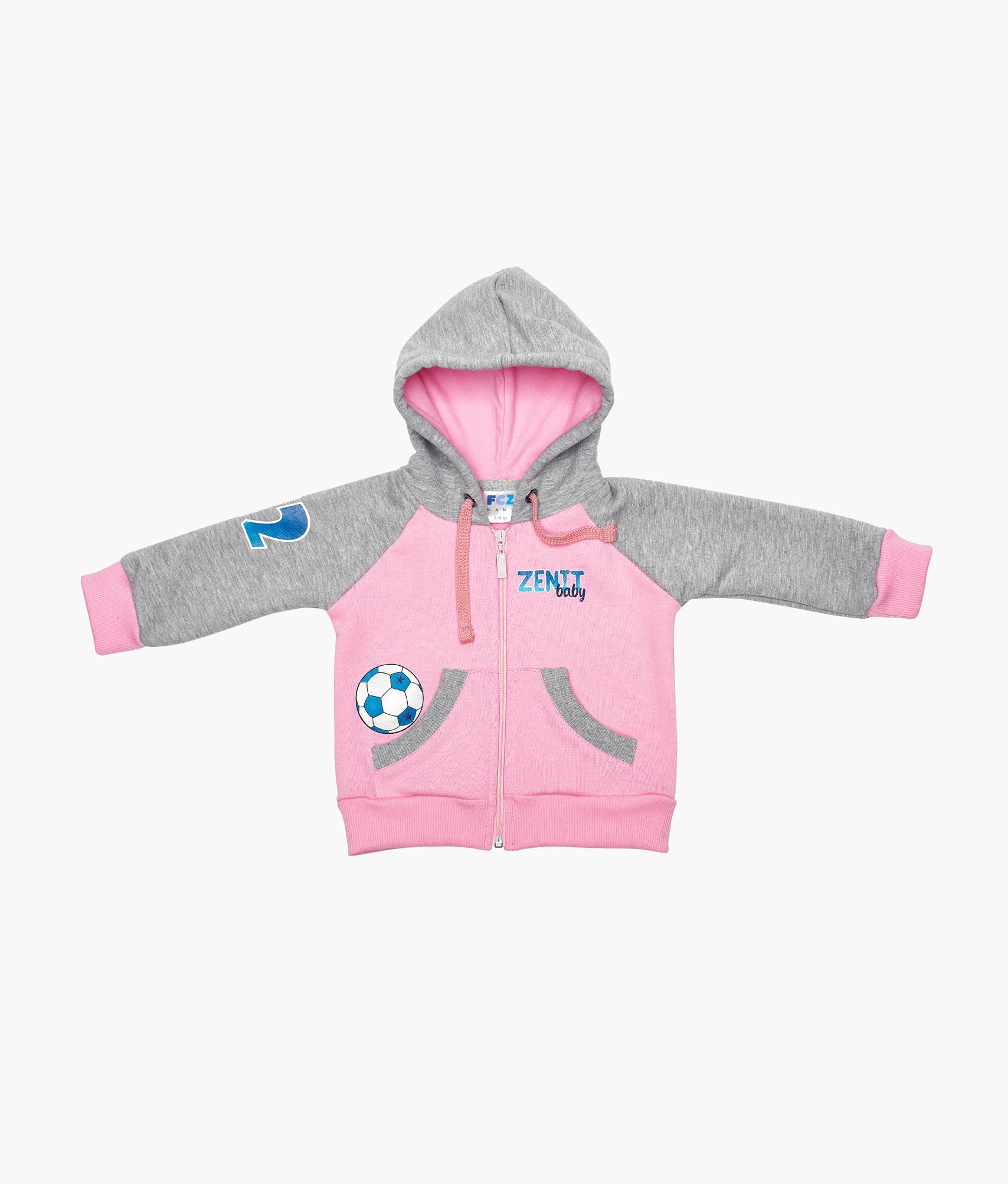 Толстовка детская для девочек Зенит Цвет-Розовый
